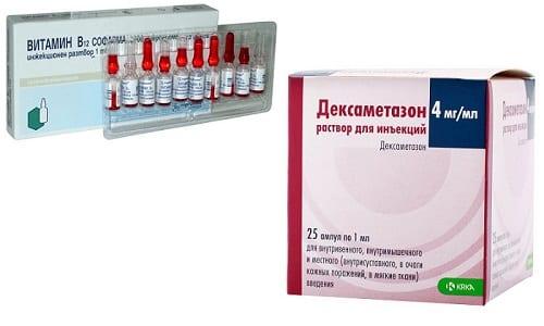 Для снятия воспаления и устранения болей, вызванных патологиями, используется Дексаметазон и В12 в одном шприце