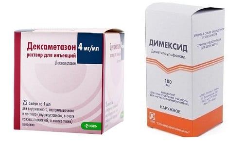 Для лечения заболеваний опорно-двигательного аппарата используются различные медикаменты, в т. ч. Димексид и Дексаметазон